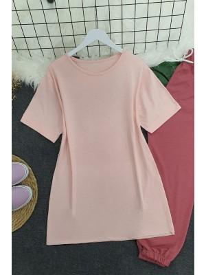Wide Collar Basic Tshirt -Powder