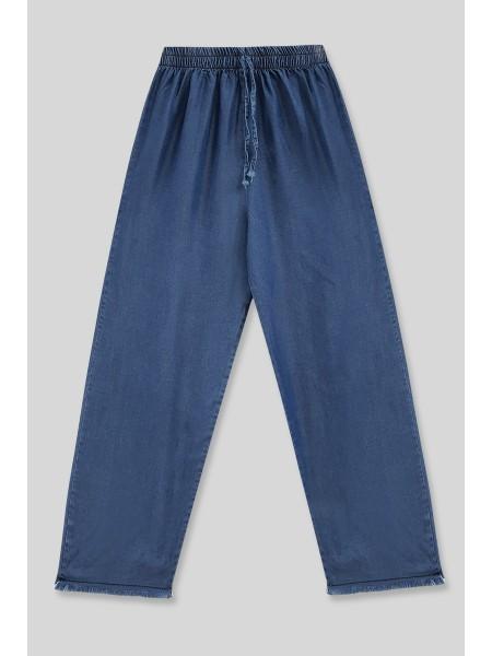 Wide Leg Tasseled Jeans -İndigo