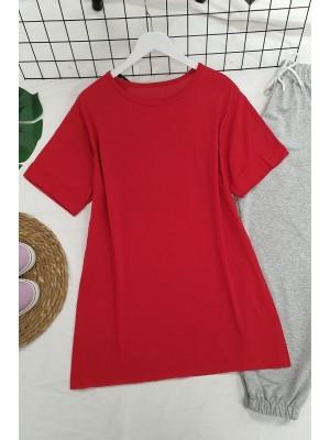 Wide Collar Basic Tshirt -Red