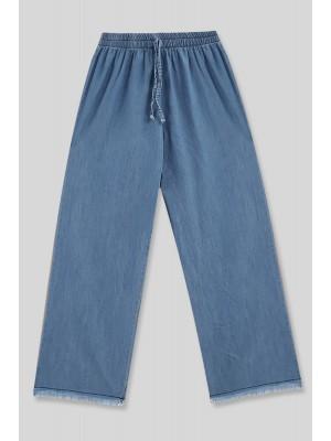 Wide Leg Tasseled Jeans -Blue