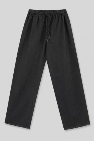 Bol Paça Püsküllü Kot Pantolon  -Siyah