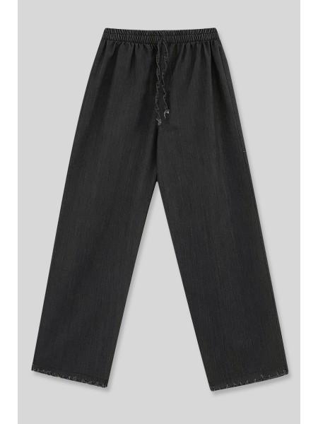 Wide Leg Tasseled Jeans  -Black