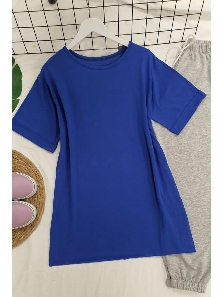 Wide Collar Basic Tshirt -Saxe