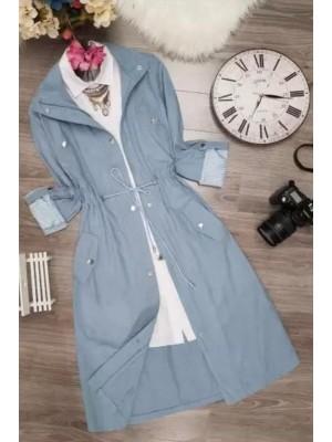 Buttoned Linen Cape  -Blue