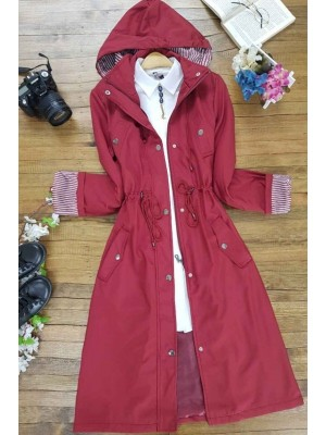 Striped Trench Coat    -Maroon