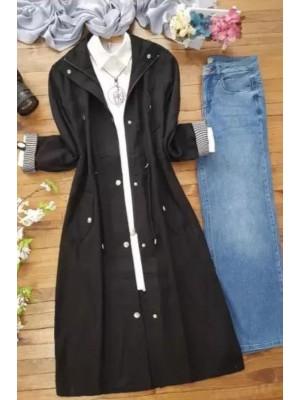 Buttoned Linen Cape -Black
