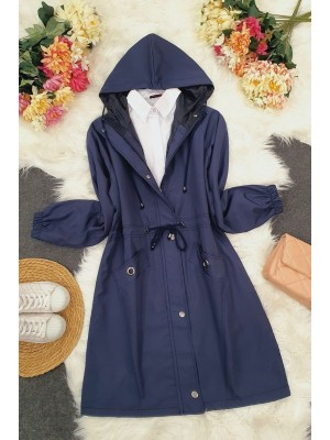 Hooded Tunnel Laced Bird Pocket Trench Coat -Navy blue