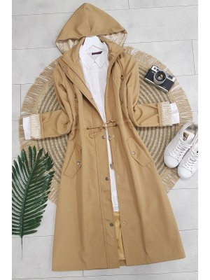 Striped Trench Coat     -Mink color