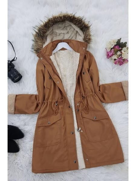 Lace Up Waist Hooded Coat -Cinnamon