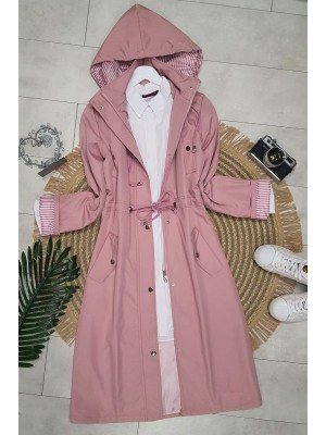 Striped Trench Coat  -Pink