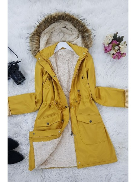 Lace Up Waist Hooded Coat -Yellow
