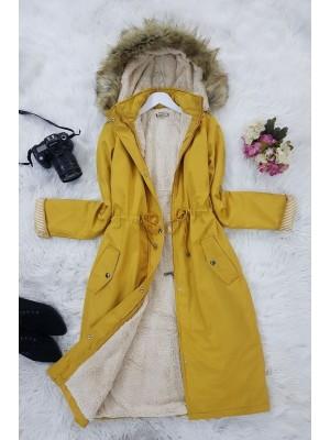 Plush Bondite Coat      -Yellow