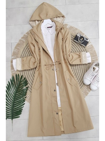 Striped Trench Coat -Stone