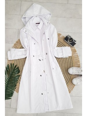 Striped Trench Coat     -White