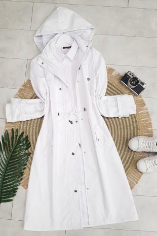 Astarı Çizgili Trençkot      -Beyaz