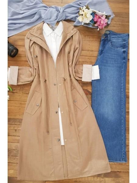 Buttoned Linen Cape -Mink color