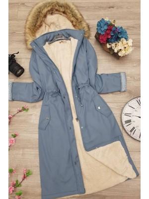 Plush Bondite Coat -Blue