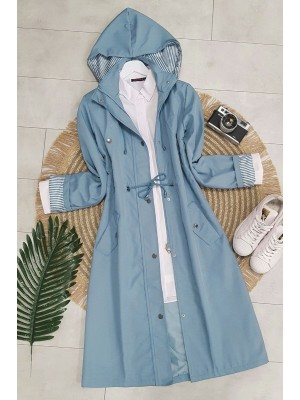 Striped Trench Coat    -Blue