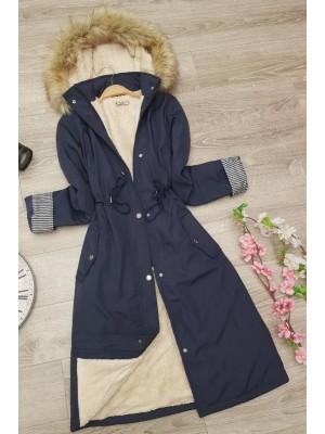 Plush Bondite Coat   -Navy blue