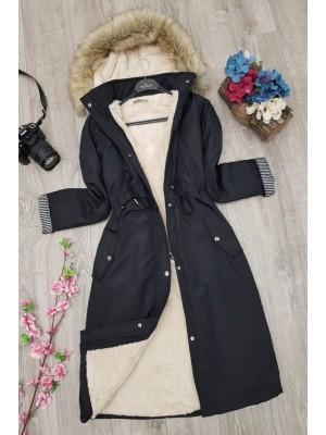 Plush Bondite Coat  -Black