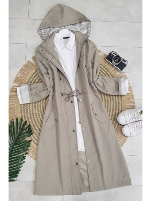Striped Trench Coat  -Grey