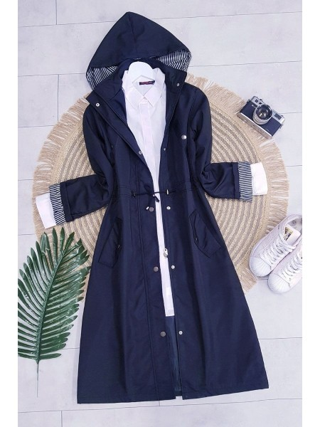 Striped Trench Coat    -Navy blue