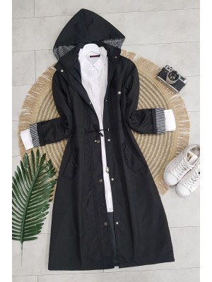 Striped Trench Coat   -Black