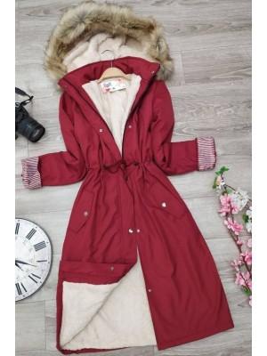 Plush Bondite Coat    -Red