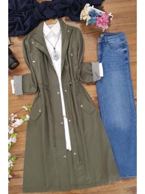 Buttoned Linen Cape -Khaki