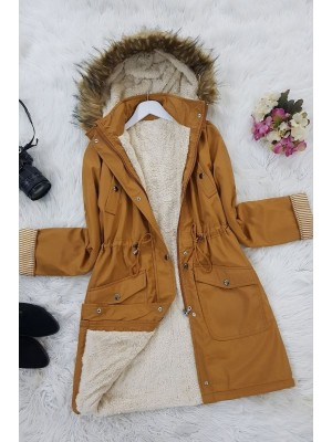 Lace Up Waist Hooded Coat -Snuff