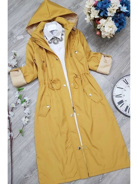 Striped Trench Coat -Mustard