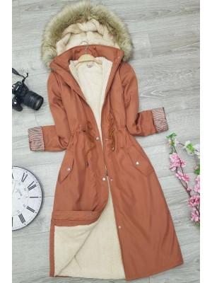 Plush Bondite Coat  -Brick color