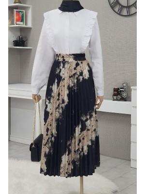 Batik Print Pleated Skirt -Black