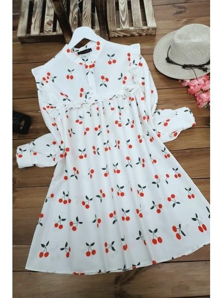 Cherry Printed Shirt -Ecru
