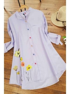 Rose Printed Judge Collar Shirt  -Lilac