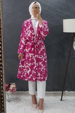 Dijital Baskılı Kimono Kap -Fuşya
