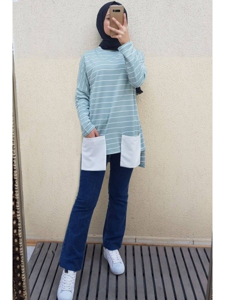 Pocket Striped Combed Cotton Sweater -Mint Color