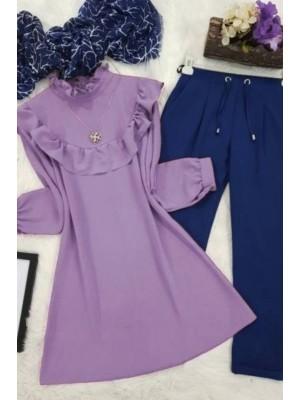 Ruffle Ayrobin Tunic      -Lilac