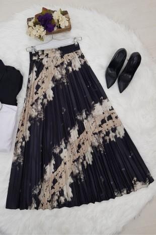 Batik Baskı Piliseli Etek -Siyah