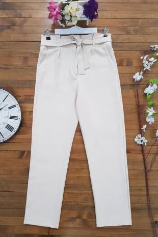 Beli Pileli Kemerli Pantolon -Taş