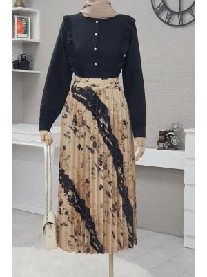 Batik Print Pleated Skirt  - Beige