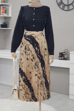 Batik Baskı Piliseli Etek  -Bej