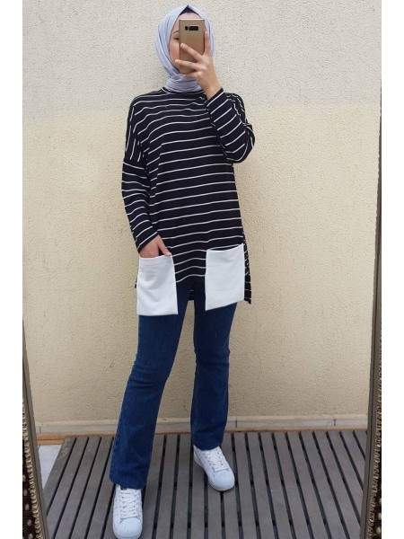 Pocket Striped Combed Cotton Sweater -Black