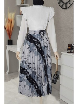 Batik Print Pleated Skirt  -Grey