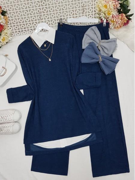 Folded Sleeves Short Front Velvet Suit -İndigo