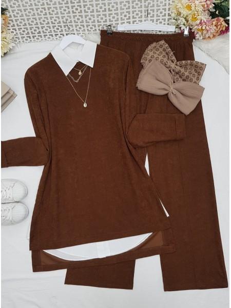 Folded Sleeves Short Front Velvet Suit -Snuff