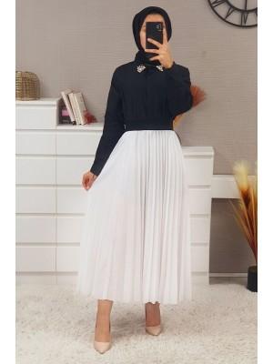 Elastic Waist Pleated Skirt -White