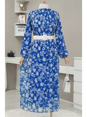 Pleated Belted Long Dress  -Saxe