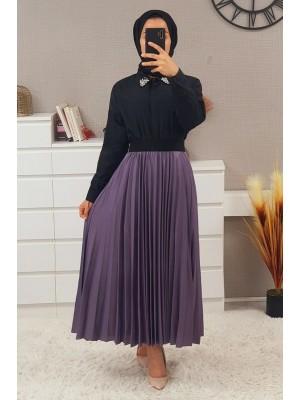 Elastic Waist Pleated Skirt - Purple