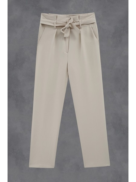 Pleated Waist Belt Trousers -Stone
